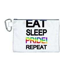 Eat sleep pride repeat Canvas Cosmetic Bag (M)