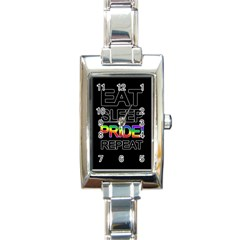 Eat sleep pride repeat Rectangle Italian Charm Watch