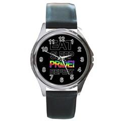 Eat sleep pride repeat Round Metal Watch