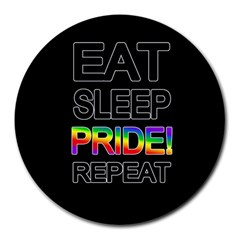 Eat sleep pride repeat Round Mousepads