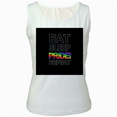 Eat sleep pride repeat Women s White Tank Top