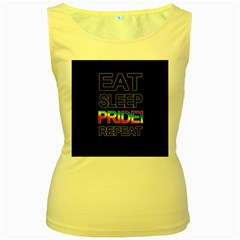 Eat sleep pride repeat Women s Yellow Tank Top