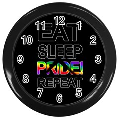 Eat sleep pride repeat Wall Clocks (Black)