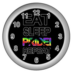 Eat sleep pride repeat Wall Clocks (Silver)