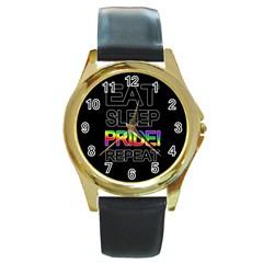 Eat sleep pride repeat Round Gold Metal Watch