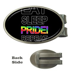 Eat sleep pride repeat Money Clips (Oval)