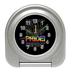 Eat sleep pride repeat Travel Alarm Clocks