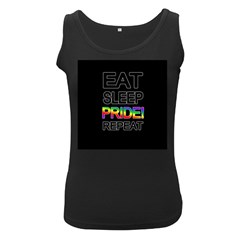 Eat sleep pride repeat Women s Black Tank Top