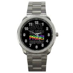 Eat sleep pride repeat Sport Metal Watch