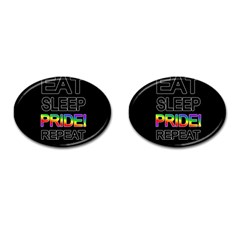 Eat sleep pride repeat Cufflinks (Oval)
