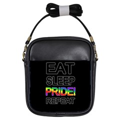 Eat sleep pride repeat Girls Sling Bags