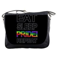 Eat sleep pride repeat Messenger Bags