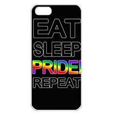 Eat sleep pride repeat Apple iPhone 5 Seamless Case (White)