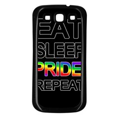 Eat sleep pride repeat Samsung Galaxy S3 Back Case (Black)