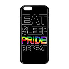 Eat sleep pride repeat Apple iPhone 6/6S Black Enamel Case