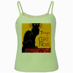 Black cat Green Spaghetti Tank