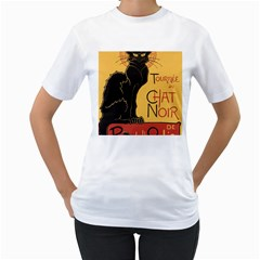 Black cat Women s T-Shirt (White) (Two Sided)