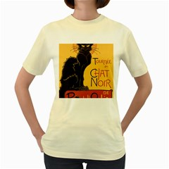 Black cat Women s Yellow T-Shirt