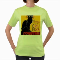 Black cat Women s Green T-Shirt