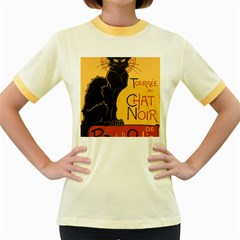 Black cat Women s Fitted Ringer T-Shirts
