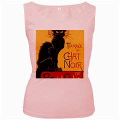 Black cat Women s Pink Tank Top