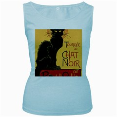 Black cat Women s Baby Blue Tank Top