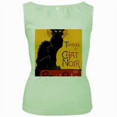 Black cat Women s Green Tank Top