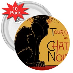 Black cat 3  Buttons (10 pack)