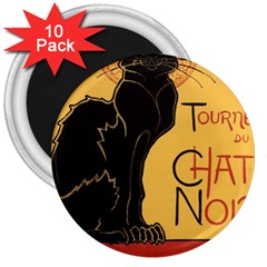 Black cat 3  Magnets (10 pack)