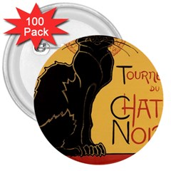 Black cat 3  Buttons (100 pack)