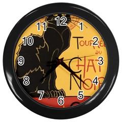 Black cat Wall Clocks (Black)
