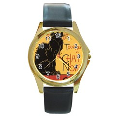 Black cat Round Gold Metal Watch