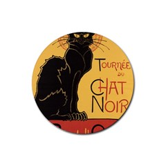 Black cat Rubber Round Coaster (4 pack)