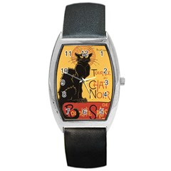 Black cat Barrel Style Metal Watch
