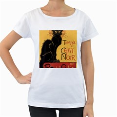Black cat Women s Loose-Fit T-Shirt (White)