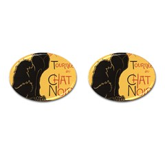 Black cat Cufflinks (Oval)