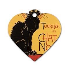 Black cat Dog Tag Heart (One Side)