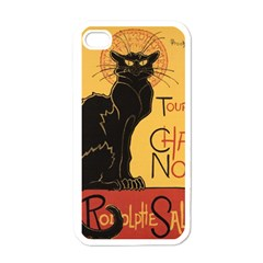 Black cat Apple iPhone 4 Case (White)