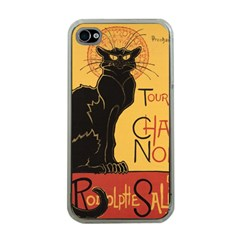 Black cat Apple iPhone 4 Case (Clear)