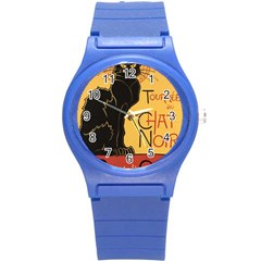 Black cat Round Plastic Sport Watch (S)
