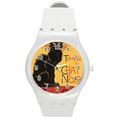 Black cat Round Plastic Sport Watch (M)