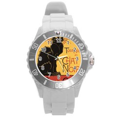 Black cat Round Plastic Sport Watch (L)