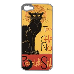 Black cat Apple iPhone 5 Case (Silver)