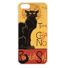 Black cat Apple iPhone 5 Seamless Case (White)