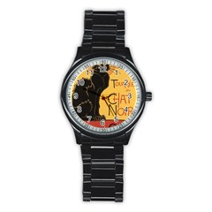 Black cat Stainless Steel Round Watch