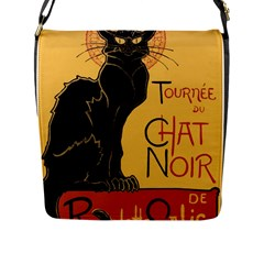 Black cat Flap Messenger Bag (L)