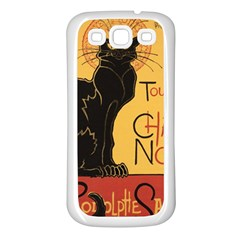 Black cat Samsung Galaxy S3 Back Case (White)