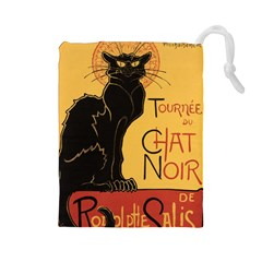 Black cat Drawstring Pouches (Large)