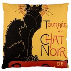 Black cat Large Flano Cushion Case (One Side)