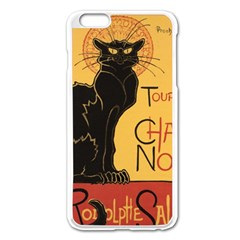 Black cat Apple iPhone 6 Plus/6S Plus Enamel White Case